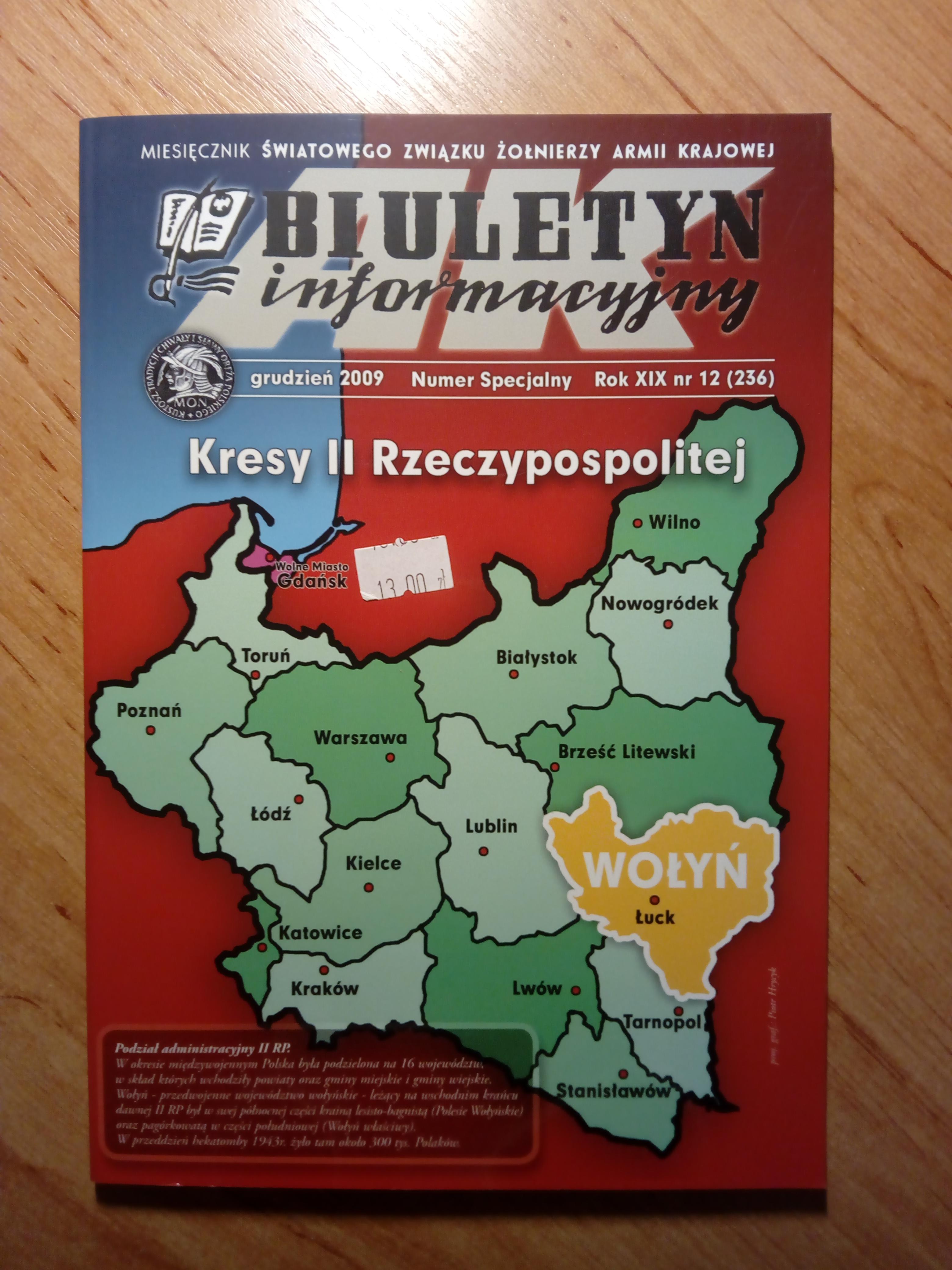 Biuletyn Informacyjny 12/2009 Kresy II Rzeczypospolitej Wołyń (opr.zbiorowe)